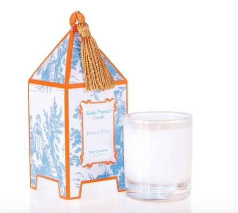 French Tulip Toile Mini Pagoda Box Candle