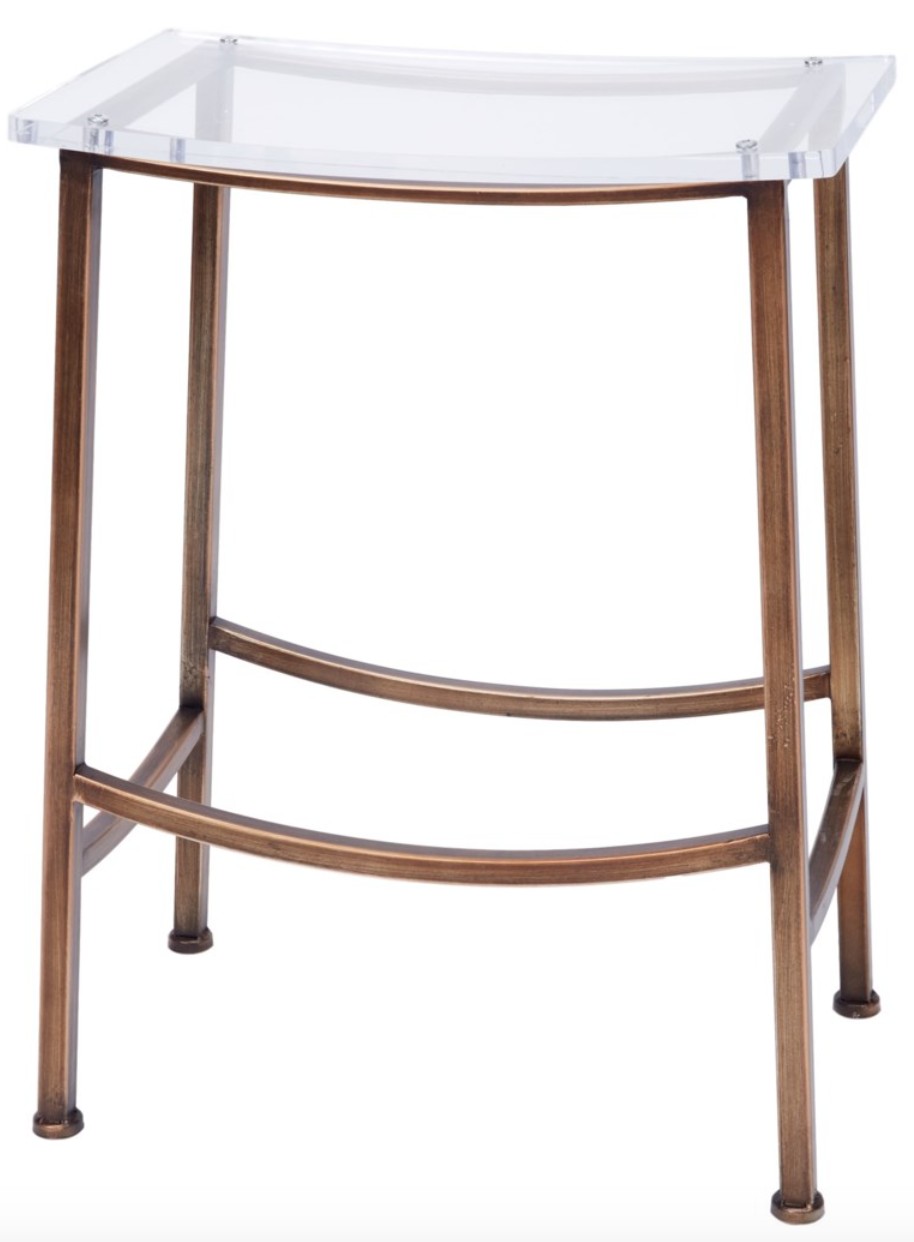 Carson Bronze and Acrylic Counter Height Barstool