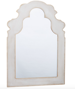 Luna Grey Washed Metal Mirror with Brushed Gold Edges