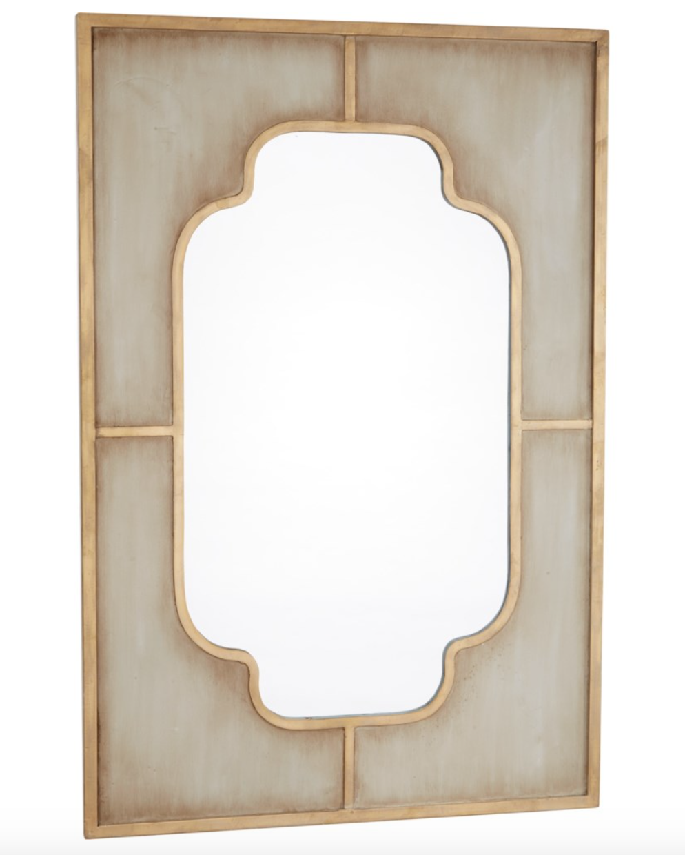 Charlotte Aged Grey and Gold Metal Mirror