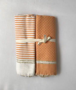 Set of 2 guest towels solid/tripes with lurex/salmon/white