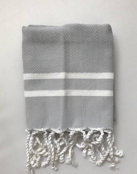 Guest towel herringbone, Grey/White stripes