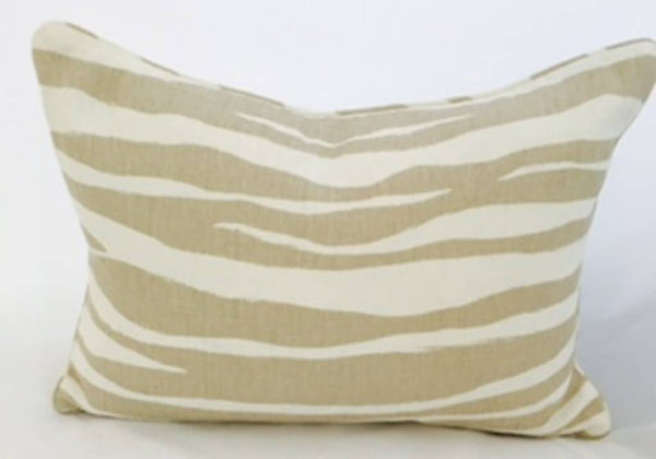 "14"" x 20"" Pillow-Piped-Mona Zebra (Down) Flaxseed"