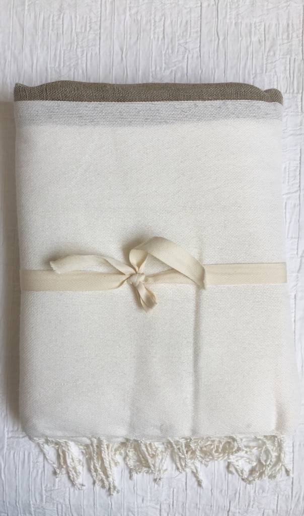 Tablecloth/Throw -  White, Beige