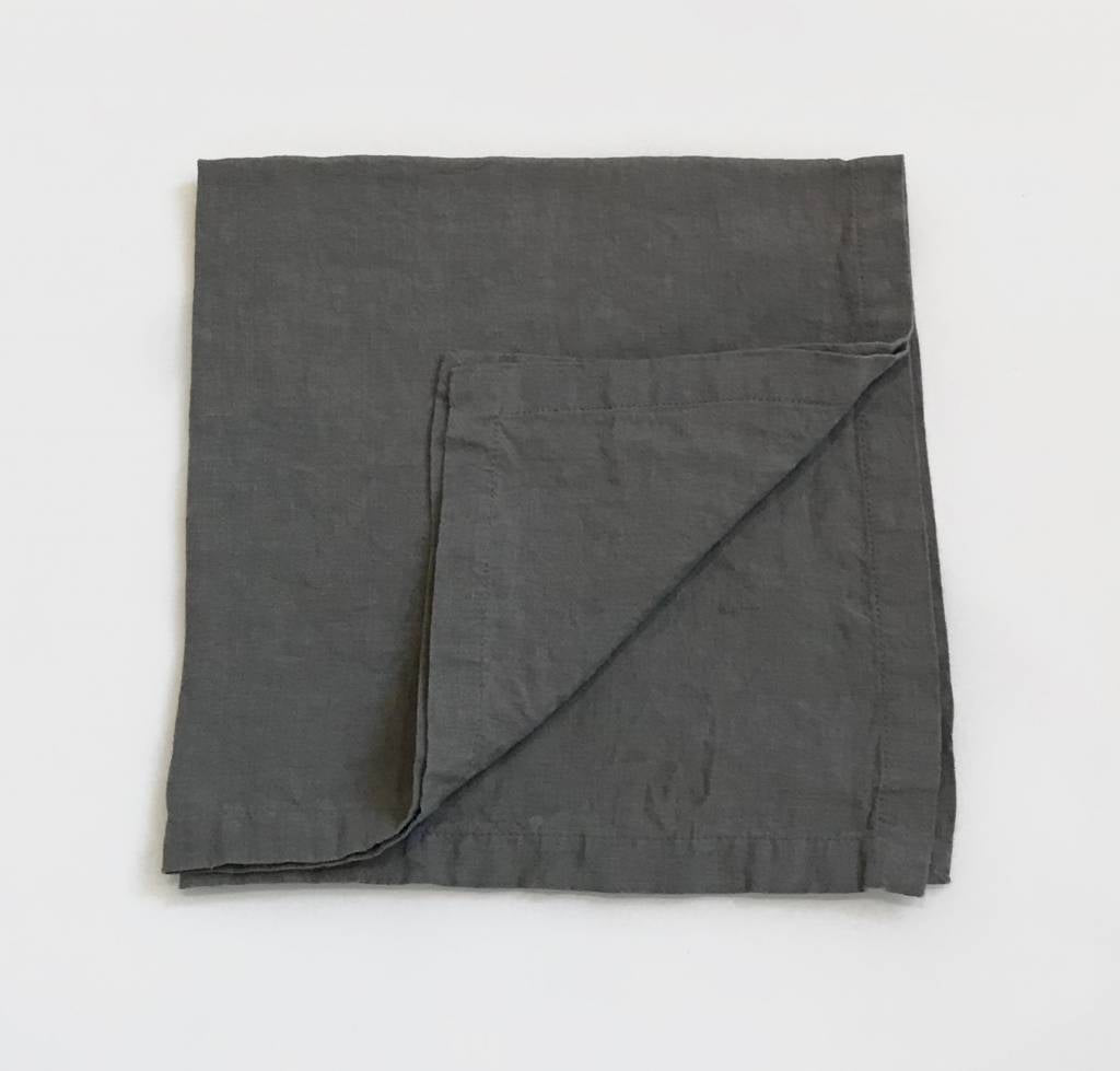 "Stonewashed Linen 21"" Napkin - Steel Grey"