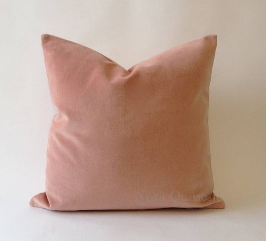 "Rose Cotton Velvet 20"" x 20"" pillow with insert"