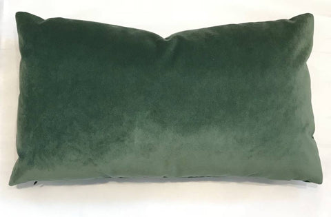 AM Velvet Lumbar Pillow 14x24, Emerald