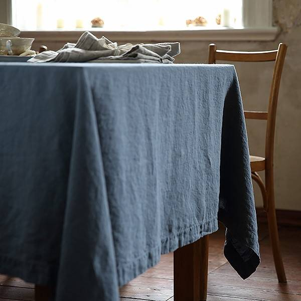 Stone Washed Tablecloth 67x126 Blue - Exclusively Ours