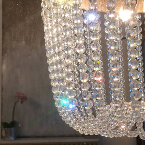 Malibu Ice Chandelier with Rope & Brass Detail