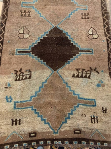 Large Brown Oushak Runner 4' x 11'