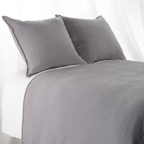 "Euro Sham ""INDI"" Diamond Mattelasse Dark Grey"
