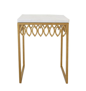 Leafy Side Table with Marble Top
