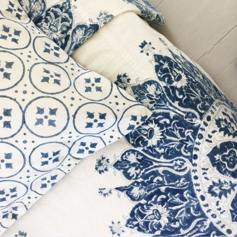 "Les Indiennes ""Celestine"" Summer Bed Cover Indigo Full/Queen"