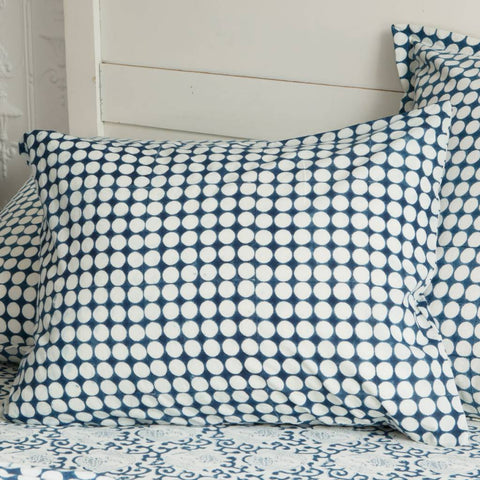 "Les Indiennes ""Tania"" Dot Reverse std case pillowcase - indigo"