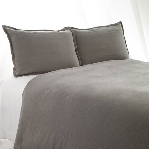 King Duvet Cover Stonewashed Linen Cotton Dark Grey
