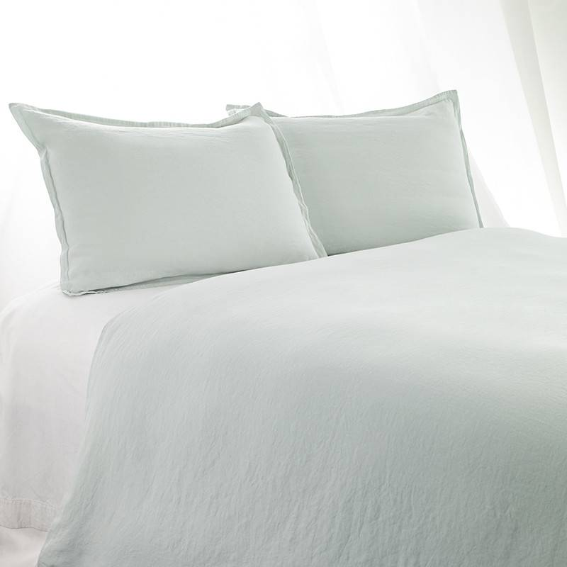 King Duvet Cover Stonewashed Linen Cotton Ice Blue
