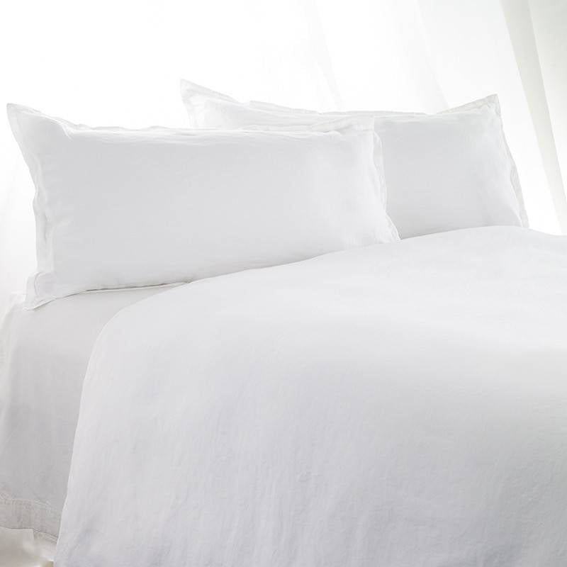 Queen  Duvet Cover Stonewashed Linen Cotton White