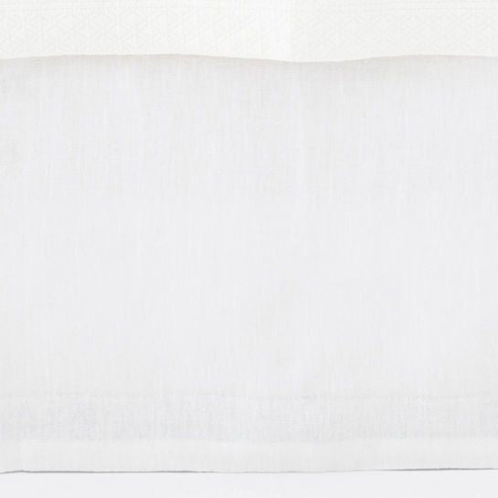 Stone Washed Linen White Tailored Paneled Bed Skirt Full/Queen