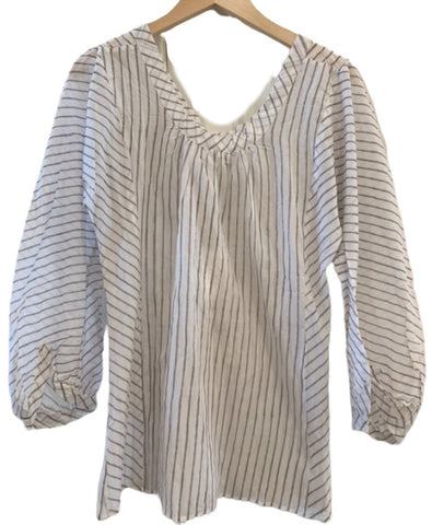 3/4 Sleeve Blouse Med Grey Stripe M/L