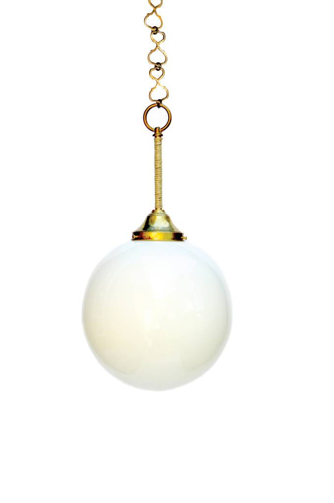 Orb Pendant, Milk Glass, 8""
