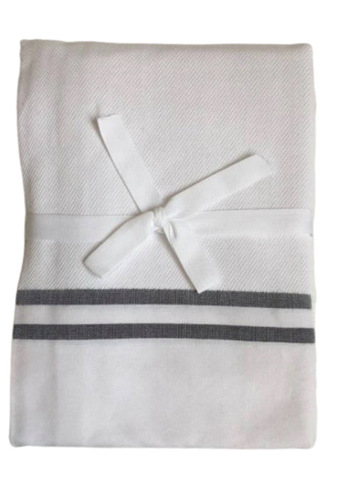 Shower Curtain Herringbone, white/black stripes