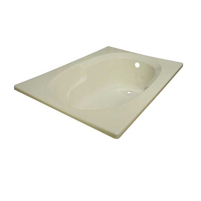 Lyons Industries Classic 5 ft. Reversible Drain Heated Soaking Tub in Biscuit