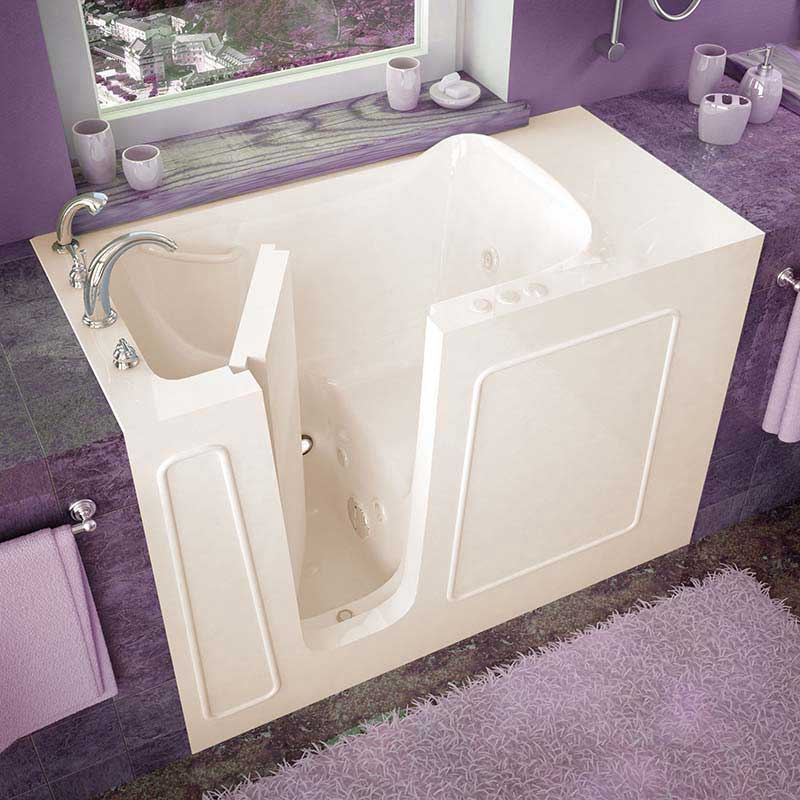 Venzi 26x53 Left Drain Biscuit Whirlpool Jetted Walk In Bathtub By Meditub