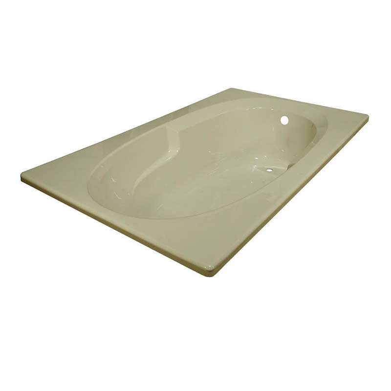Lyons Industries Classic 6 ft. Reversible Drain Heated Soaking Tub in Biscuit