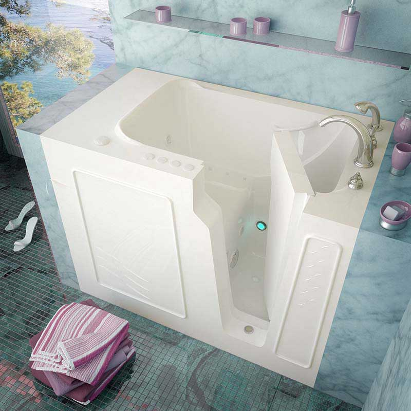 Venzi 29x52 Right Drain White Whirlpool & Air Jetted Walk In Bathtub By Meditub
