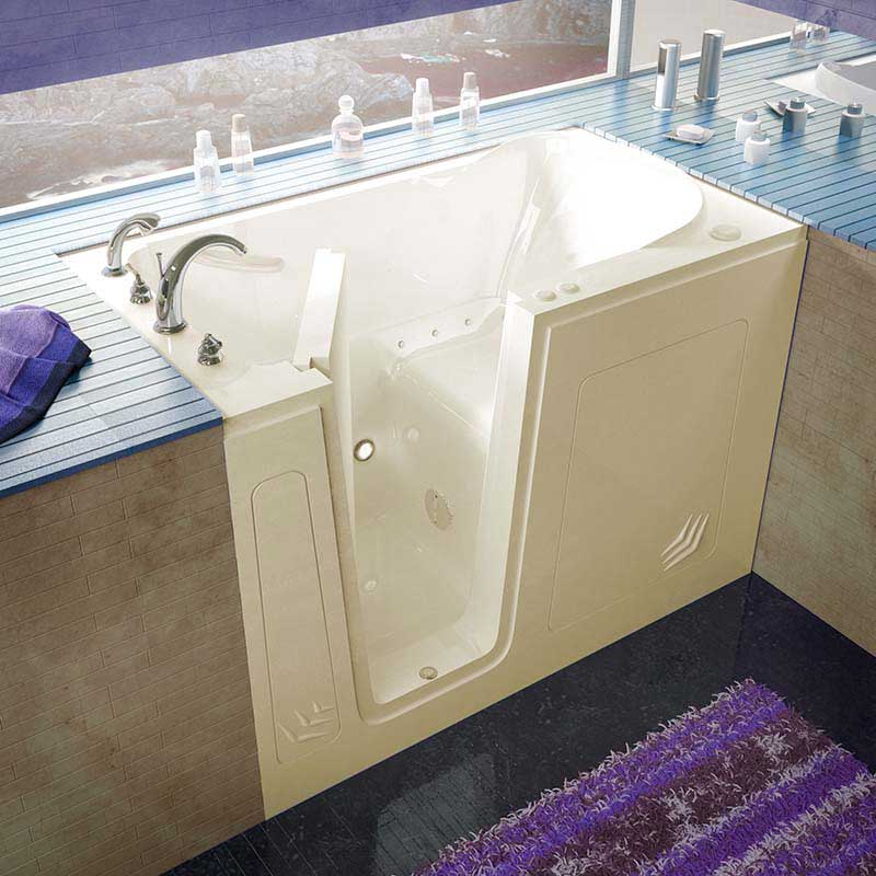 Venzi 30x54 Left Drain Biscuit Air Jetted Walk In Bathtub By Meditub