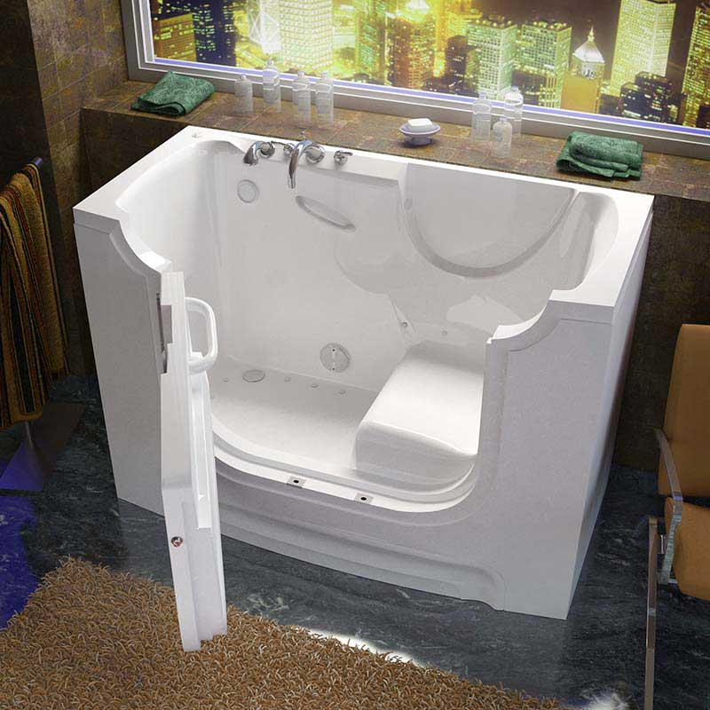 Venzi 30x60 Left Drain White Air Jetted Wheelchair Accessible Walk In Bathtub By Meditub