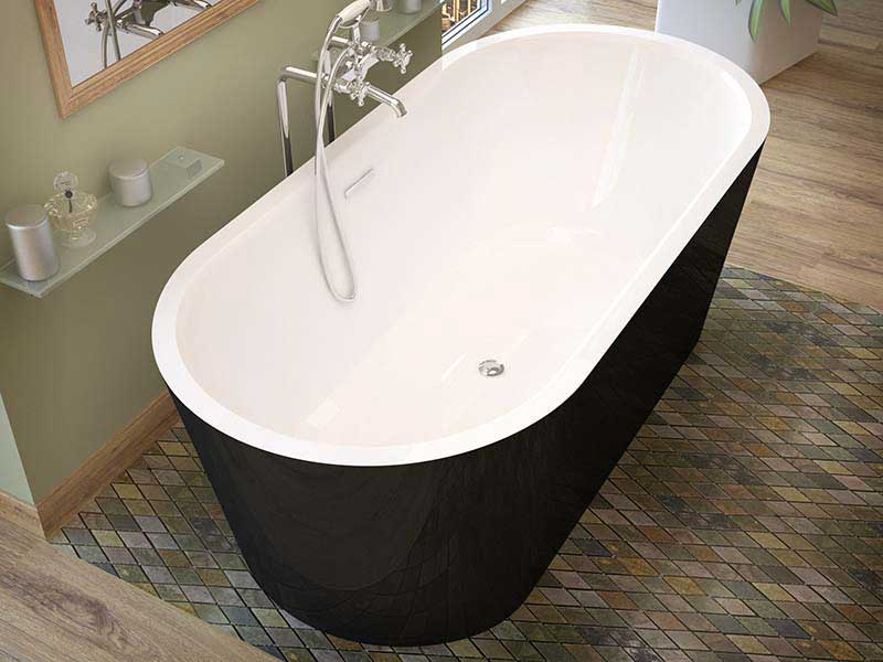 Venzi Tre, 32 x 67 Freestanding One Piece Soaker Tub with Center Drain By Atlantis