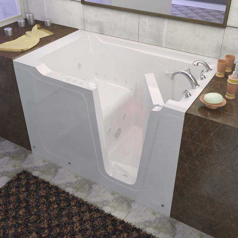Venzi 36x60 Right Drain White Whirlpool & Air Jetted Walk In Bathtub By Meditub
