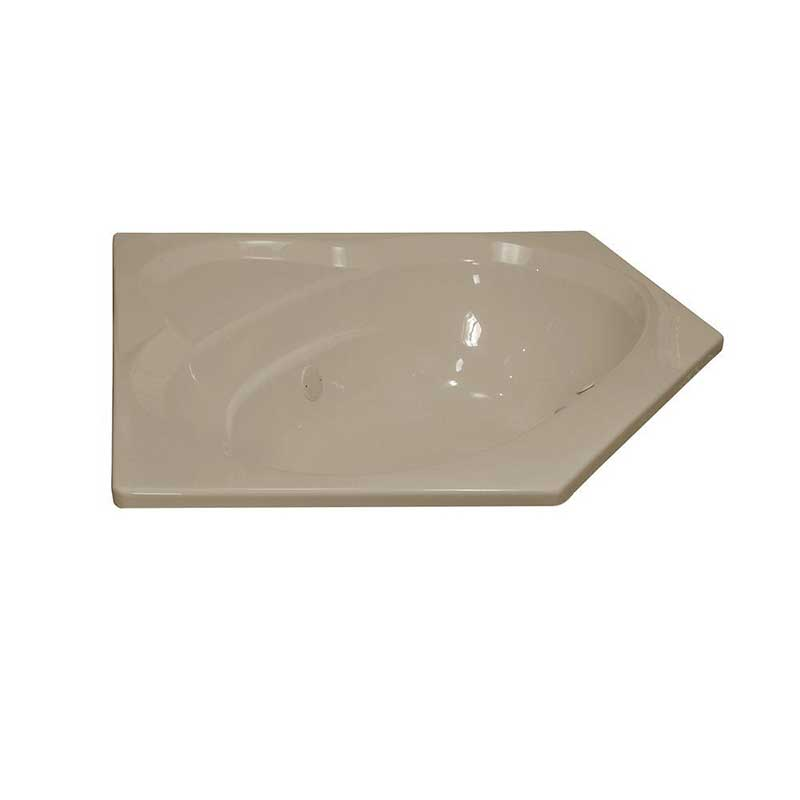 Lyons Industries Classic 5 ft. Corner Front Drain Heated Soaking Tub in Almond