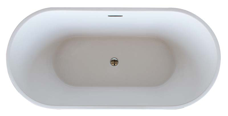 Venzi Vida Collection 32 x 67 Oval Acrylic Freestanding Bathtub with Center Drain By Atlantis 2