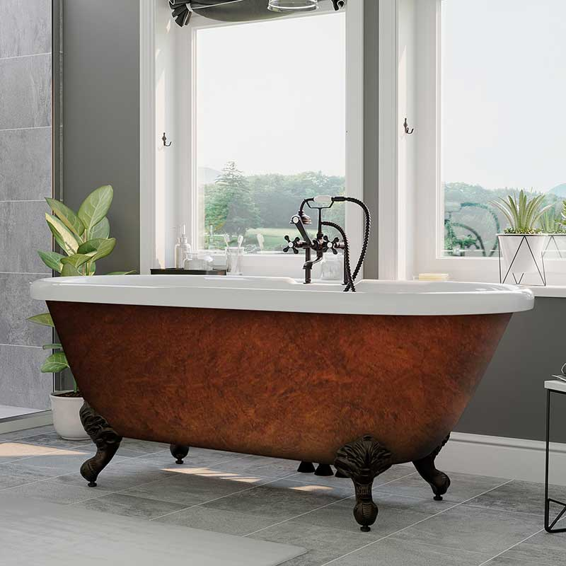 "Cambridge Plumbing Acrylic Slipper Clawfoot Bathtub 70""x30"" Faux Copper Bronze Finish on Exterior with 7"" Deck Mount Faucet Drillings and Oil Rubbed Bronze Feet"