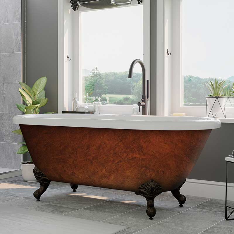 "Cambridge Plumbing Acrylic Slipper Clawfoot Bathtub 70""x30"" Faux Copper Bronze Finish on Exterior with No Deck Faucet Drillings and Oil Rubbed Bronze Feet"