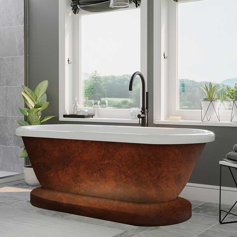 Cambridge Plumbing Acrylic double ended pedestal tub, no faucet drillings and copper bronze paint.