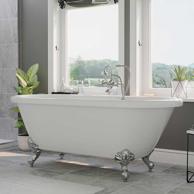 "Cambridge Plumbing Acrylic Double Ended Clawfoot Bathtub 60"" X 30"" with no Faucet Drillings and Complete Polished Chrome Plumbing Package"