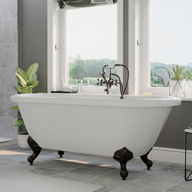 "Cambridge Plumbing Acrylic Double Ended Clawfoot Bathtub 60"" X 30"" with no Faucet Drillings and Complete Oil Rubbed Bronze Plumbing Package"