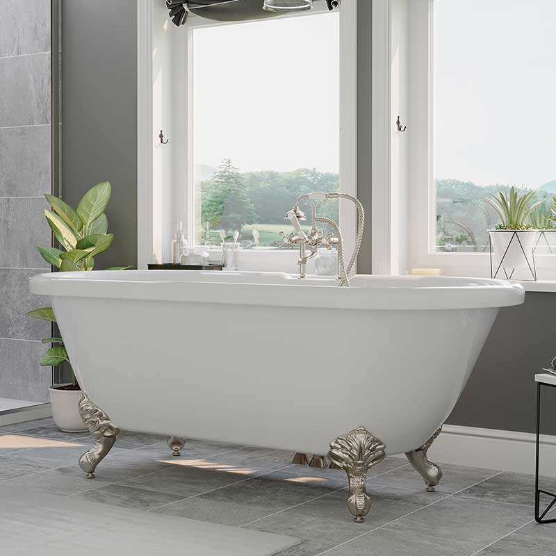 "Cambridge Plumbing Acrylic Double Ended Clawfoot Bathtub 60"" X 30"" with 7"" Deck Mount Faucet Drillings and complete Brushed Nickel Plumbing Package"