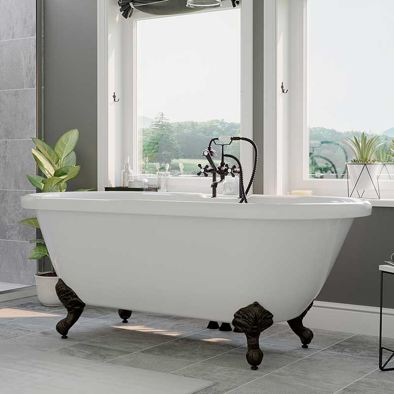 "Cambridge Plumbing Acrylic Double Ended Clawfoot Bathtub 60"" X 30"" with 7"" Deck Mount Faucet Drillings and complete Oil Rubbed Bronze Plumbing Package"