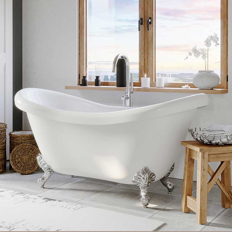 "Cambridge Plumbing Acrylic Double Ended Clawfoot Bathtub 68"" X 28"" with no Faucet Drillings and Complete Polished Chromel Plumbing Package"