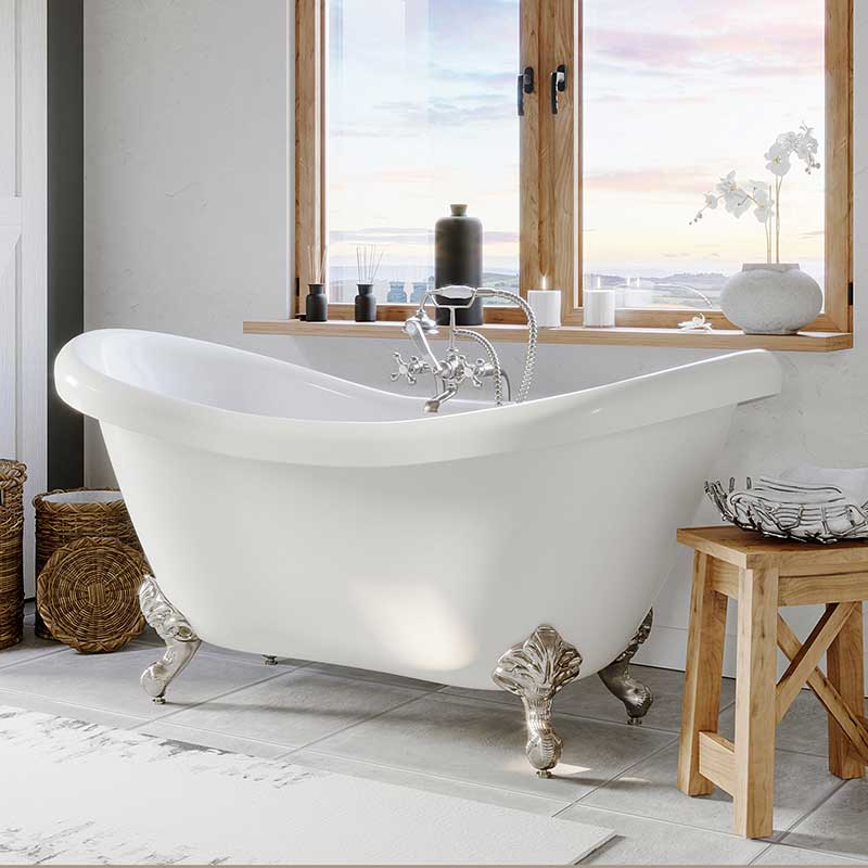 "Cambridge Plumbing Acrylic Double Ended Clawfoot Bathtub 68"" X 28"" with No Faucet Drillings and Complete Brushed Nickel Plumbing Package"