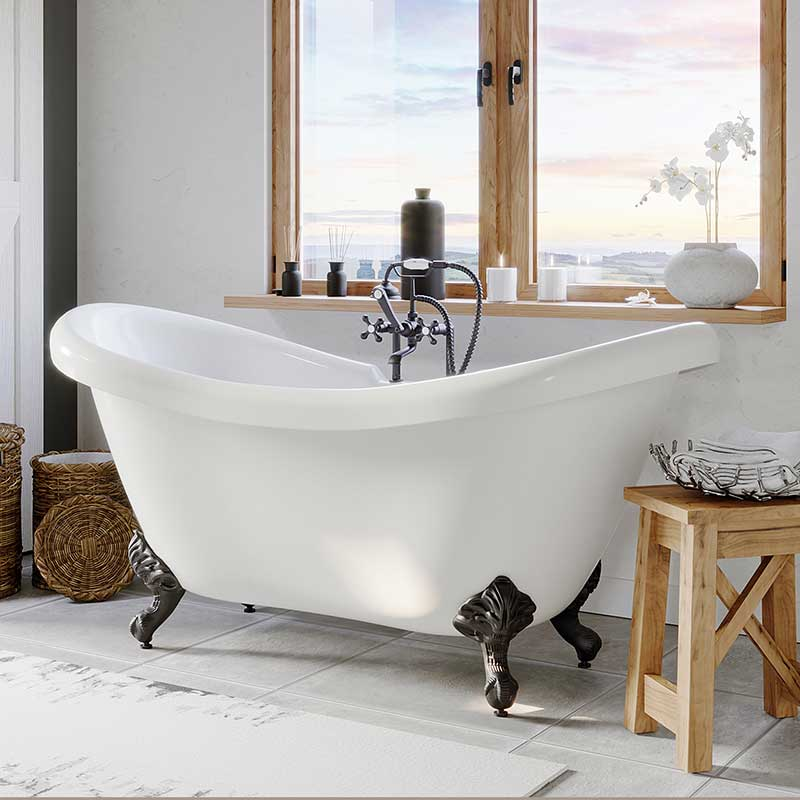 "Cambridge Plumbing Acrylic Double Ended Slipper Bathtub 68"" X 28"" with 7"" Deck Mount Faucet Drillings and Oil Rubbed Bronze Feet"