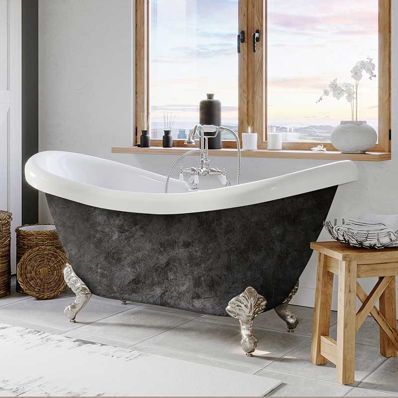 "Cambridge Plumbing Scorched Platinum Acrylic Double Ended Slipper Bathtub 68"" X 28"" with 7"" Deck Mount Faucet Drillings and Brushed Nickel Feet"