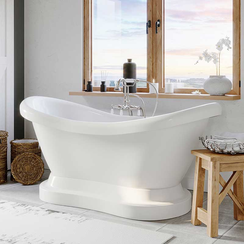 "Cambridge Plumbing Acrylic Double Ended Pedestal Slipper Bathtub 68"" X 28"" with No Faucet Drillings and Complete Brushed Nickel Plumbing Package"