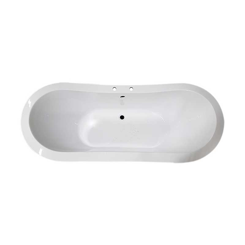 Cambridge Plumbing Extra Large Acrylic Double Slipper Clawfoot Tub, Oil Rubbe Bronze Feet and Deck Mount Faucet Holes 2