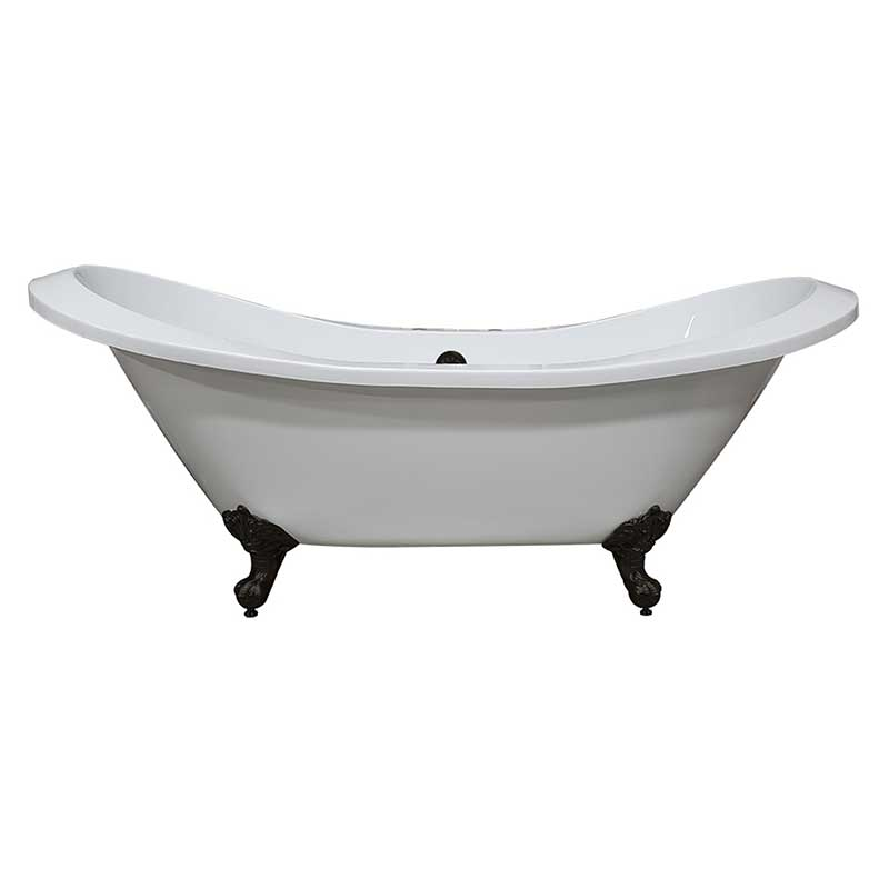 Cambridge Plumbing Extra Large Acrylic Double Slipper Clawfoot Tub, Oil Rubbe Bronze Feet and Deck Mount Faucet Holes