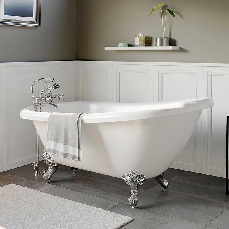 "Cambridge Plumbing Acrylic Slipper Bathtub 61"" X 28"" with 7"" Deck Mount Faucet Drillings and Complete Polished Chrome Plumbing Package"